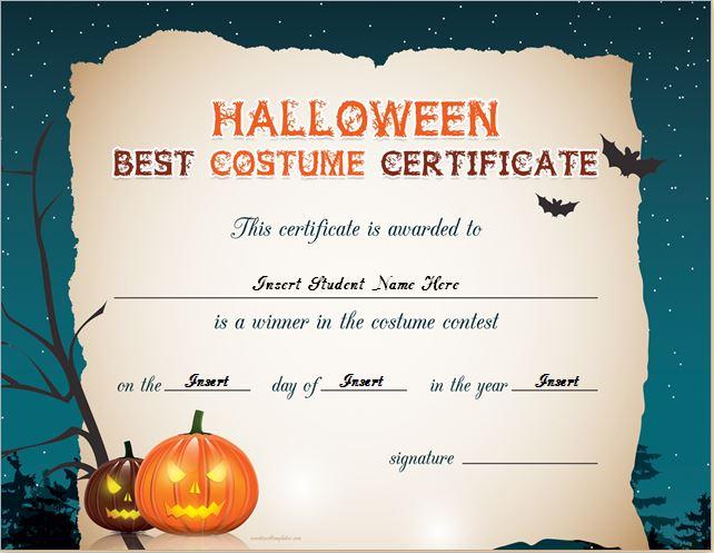 Halloween best costume certificate templates word excel templates halloween best costume certificate for word maxwellsz