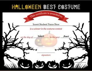 Certificate for Halloween Best Costume