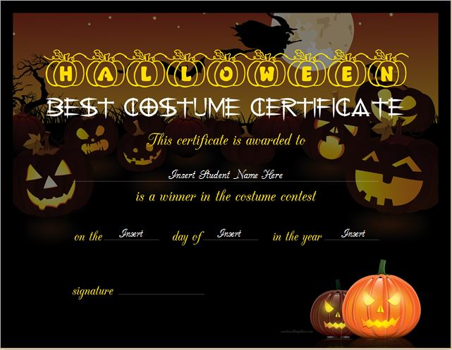 Halloween best costume certificate templates word excel templates halloween best costume certificate template yadclub