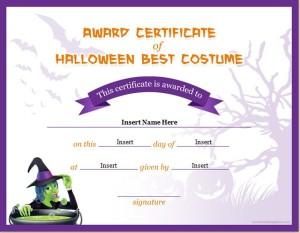 Halloween Best Costume Certificate Template