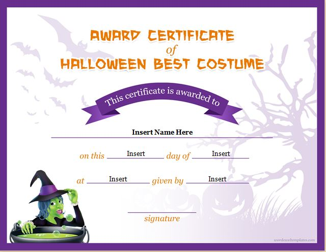 Halloween contest winner certificate template best vampire costume.