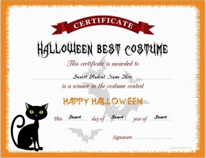 Halloween Best Costume Award Certificate
