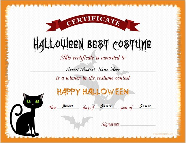 Halloween Best Costume Certificate Templates Word