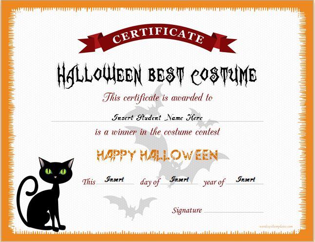Halloween Best Costume Certificate Templates | Word ...