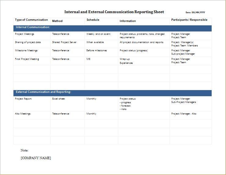 Internal and External communication report sheet