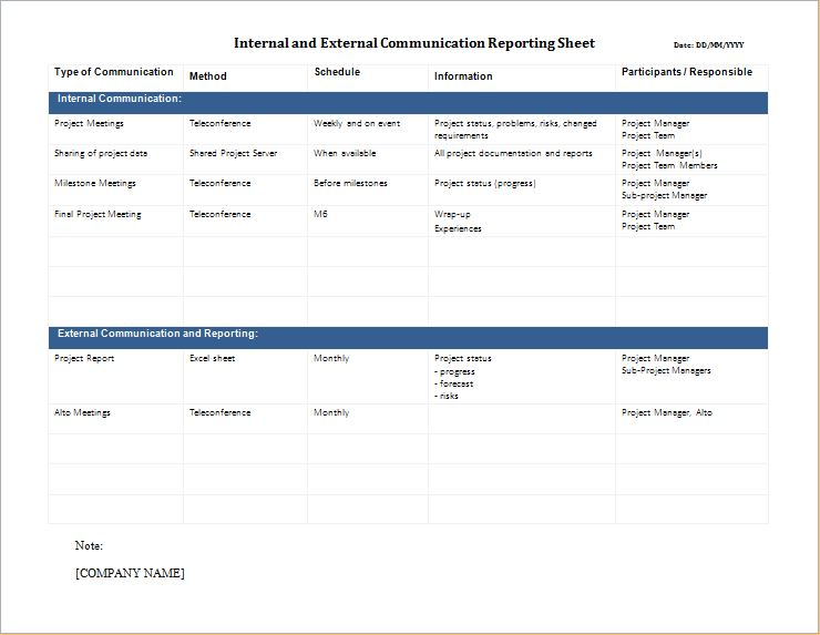 Internal and External Communication Reporting Sheet