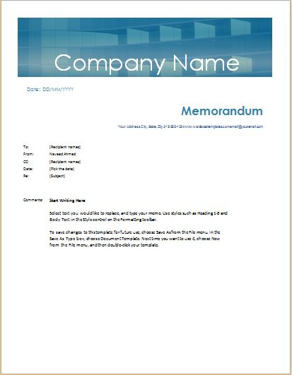 Memorandum Template for MS Word