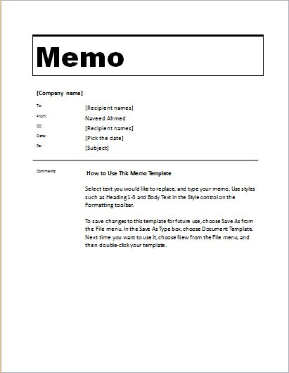 Memorandum Template for MS Word