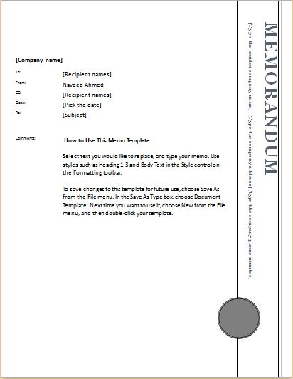Memo Template For MS Word  Memos Template