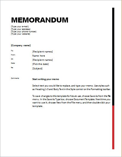 Memo Template. How To Add Your Company Logo And/Or Address To The