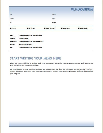 Memo template for MS Word
