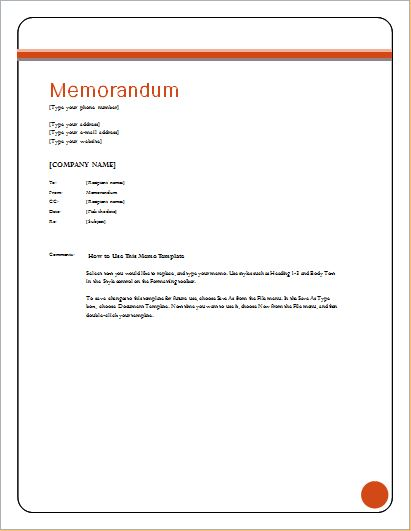 Free Editable Memo Templates For Ms Word  Word  Excel Templates
