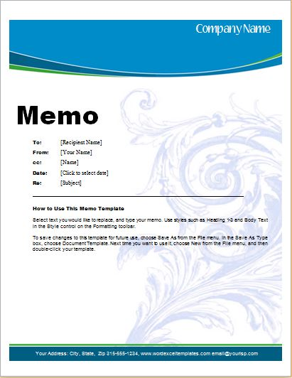 MS Word Memo Template