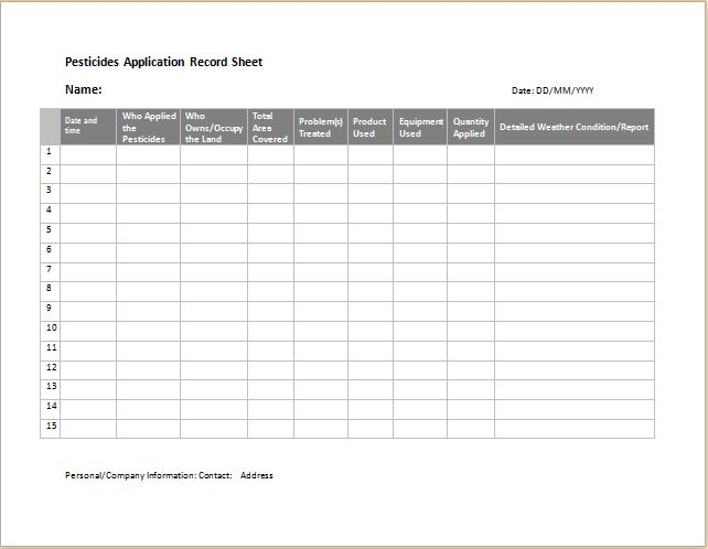 pesticides application record sheet