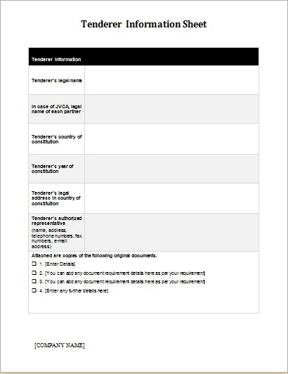 Information Sheet Template