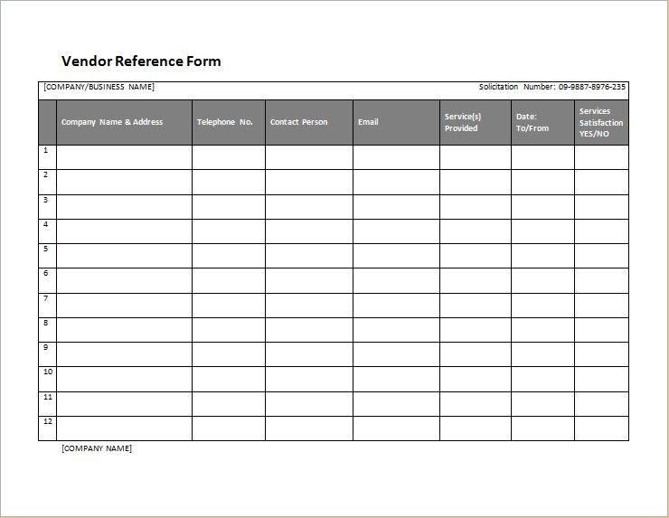 vendor reference form