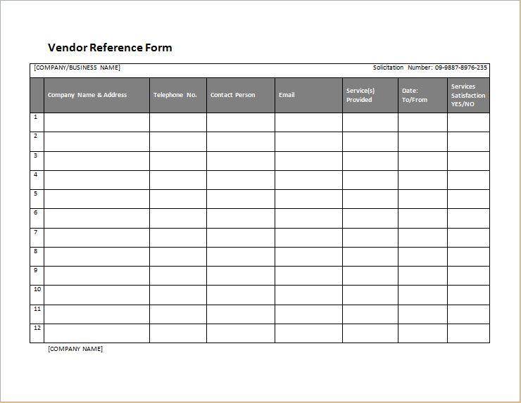 vendor reference form