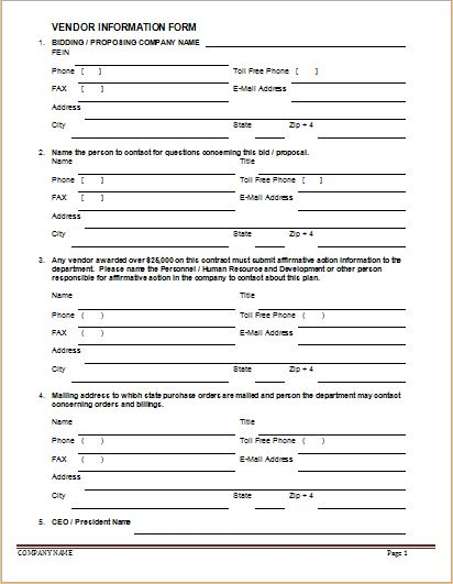 Vendor Information Forms Sample Template – Information Form Template