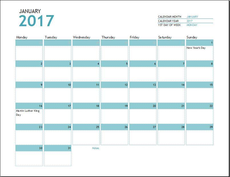 calendar 2017 word template