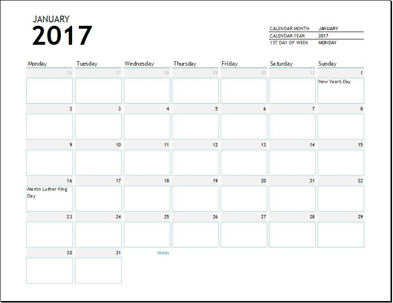 2017 calendar template for EXCEL