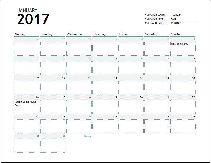 2017 calendar template for EXCEL
