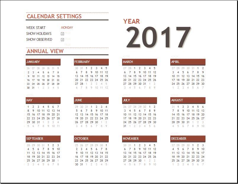 2017 Calendar for EXCEL