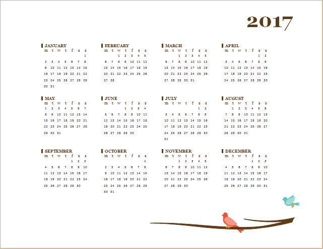 2017 calendar template for MS Word