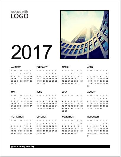 2017 Calendar for MS Word