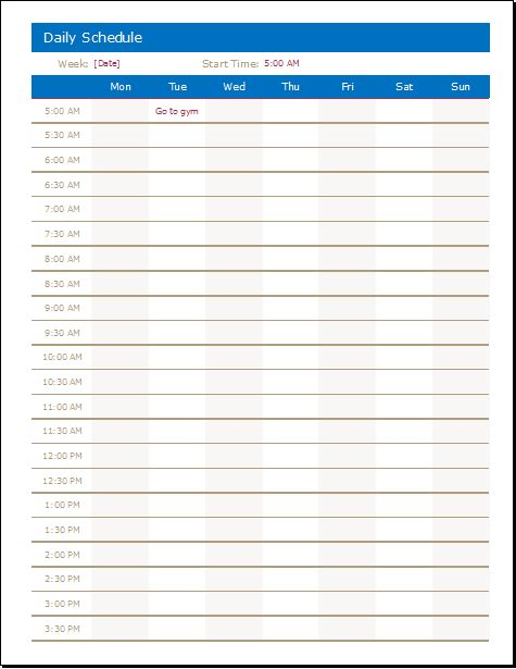 Daily Activities Schedule