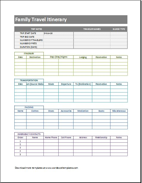 Trip Itinerary Templates For Family  Business  Word  Excel