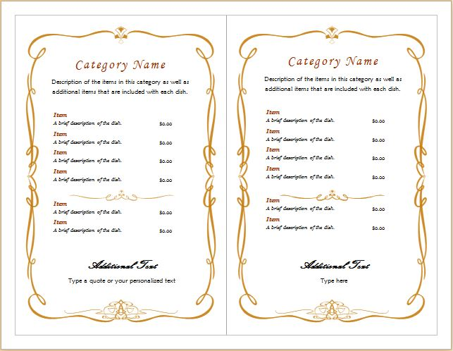 Restaurant Menu Template for MS Word