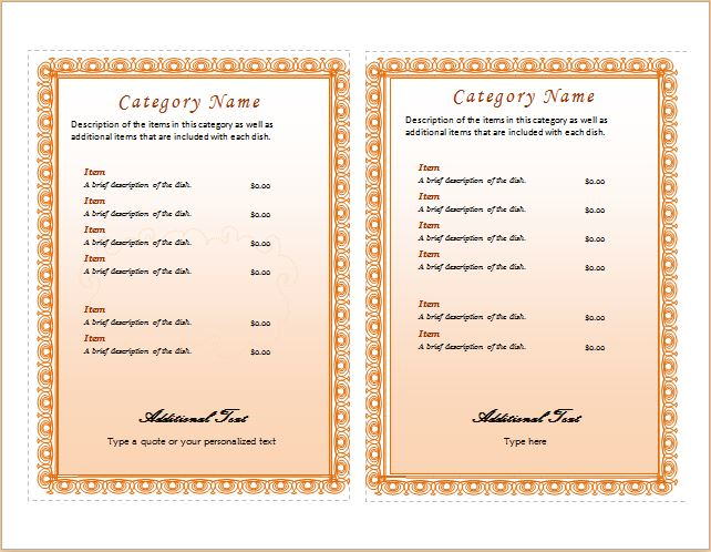 Menu Template for MS Word