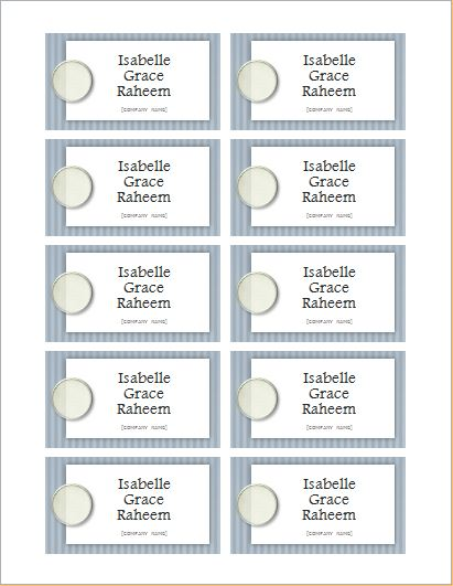 Name Tag Template for MS WORD