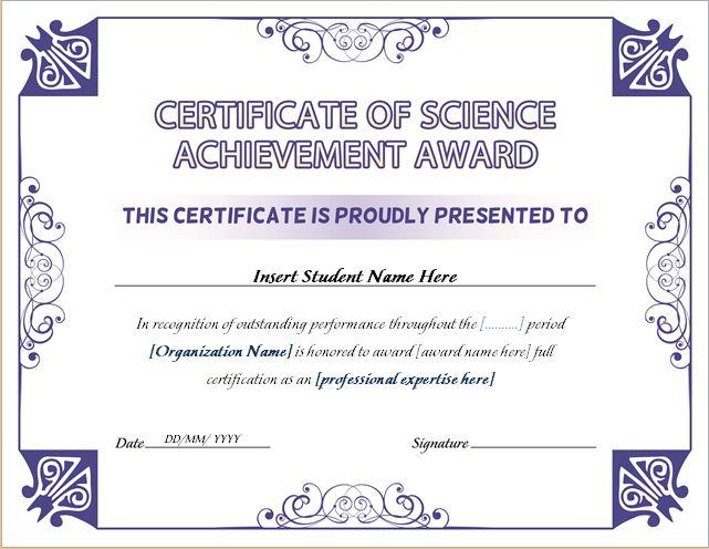 science achievement award certificates word amp excel