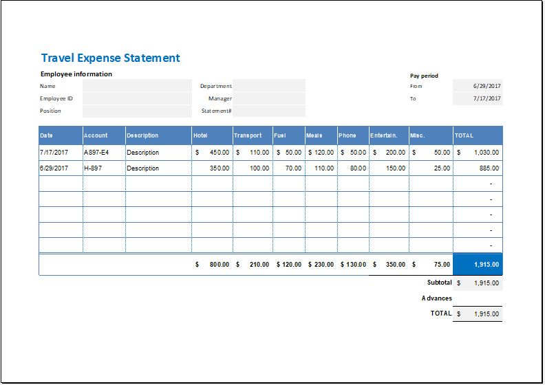 Travel Expense Statement Template