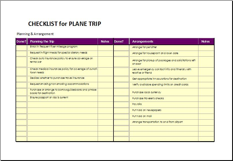 Travel Checklist For Plane Travel  Word  Excel Templates