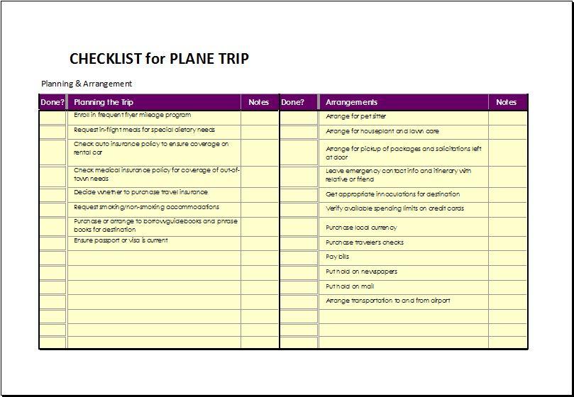 Checklist for Plane Trip