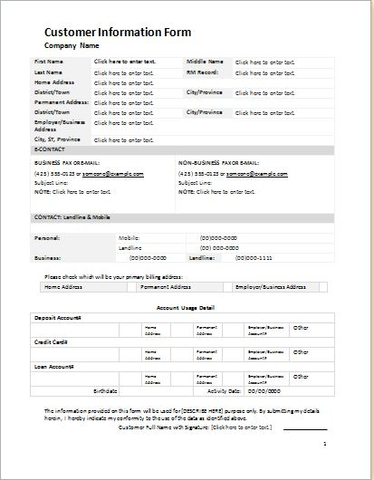 Customer Information Form Template for WORD | Word & Excel Templates