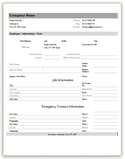 employee information forms for ms word excel word excel templates. Black Bedroom Furniture Sets. Home Design Ideas