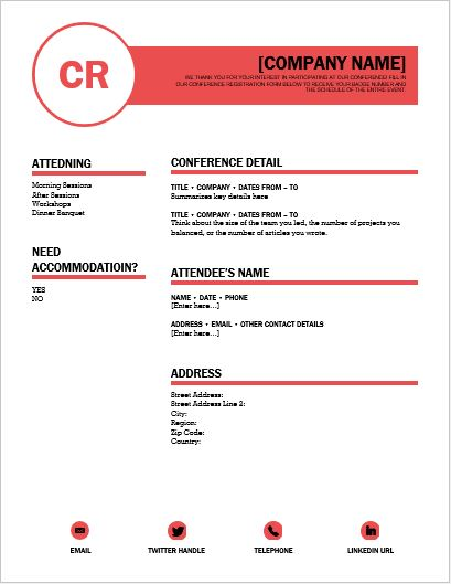 Conference Registration Form Template For Word | Word & Excel