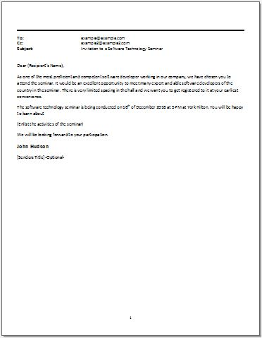 Email Template For An Invitation To A Software Technology Seminar