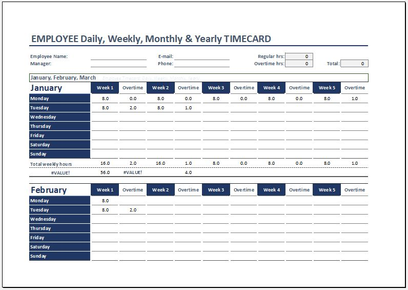 Employee Daily, Weekly, Monthly & Yearly Time Card