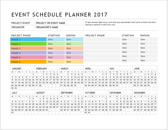 Event Planner Calendar : Daily weekly monthly planner templates for ms word