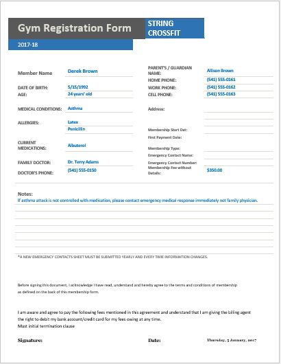 Gym Registration Forms for MS Word Excel – Club Membership Form Template Word