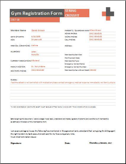 gym registration forms for ms word  u0026 excel
