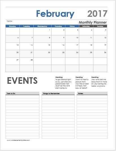 Daily Weekly  Monthly Planner Templates For Ms Word  Word  Excel