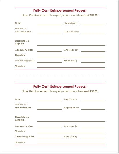 Petty Cash Reimbursement Request Form