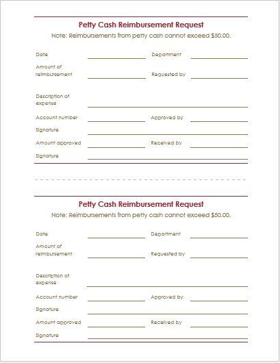 Petty Cash Reimbursement Request Form