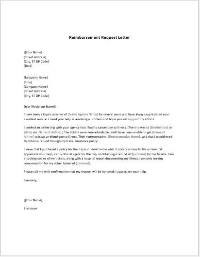 Reimbursement Request Letter