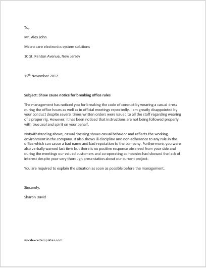 Show Cause Notice for Breaking Office Rules